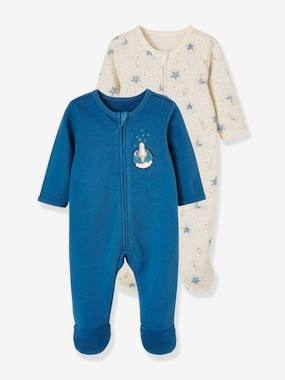Vertbaudet Collection-Baby-Pack of 2 Fleece Sleepsuits, for Babies