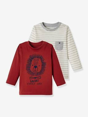 Vertbaudet Basics-Baby-Pack of 2 Long-Sleeved Tops for Baby Boys