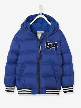 Boys-Coats & Jackets-Padded Jackets-Jacket with Hood & Patch in Bouclé, for Boys