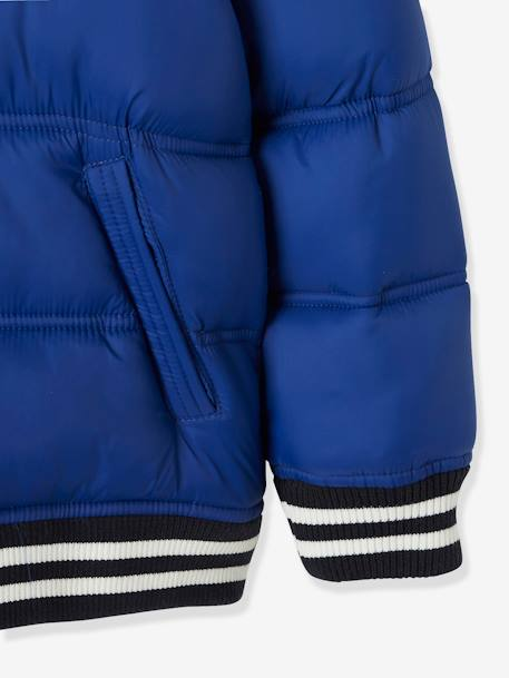Jacket with Hood & Patch in Bouclé, for Boys BLUE DARK SOLID WITH DESIGN+BLUE MEDIUM SOLID WITH DESIGN+GREEN BRIGHT SOLID WITH DESIG+YELLOW DARK SOLID WITH DESIGN - vertbaudet enfant