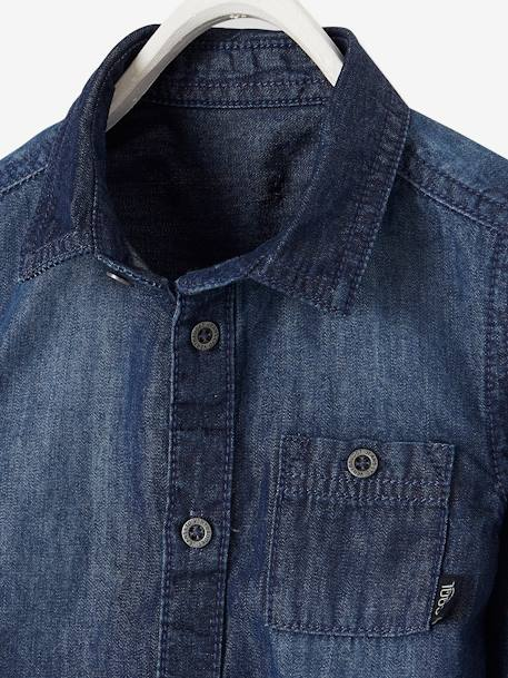 Denim Shirt for Baby Boys BLUE DARK SOLID+GREY MEDIUM WASCHED - vertbaudet enfant