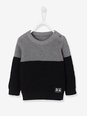 Baby-Jumpers, Cardigans & Sweaters-Two-Tone Stylish Jumper for Baby Boys