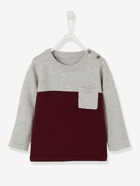 Baby-Jumpers, Cardigans & Sweaters-Two-Tone Jumper for Baby Boys