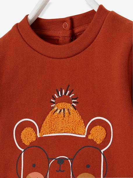 Stylish Sweatshirt for Baby Boys GREY LIGHT MIXED COLOR+ORANGE DARK SOLID WITH DESIGN - vertbaudet enfant