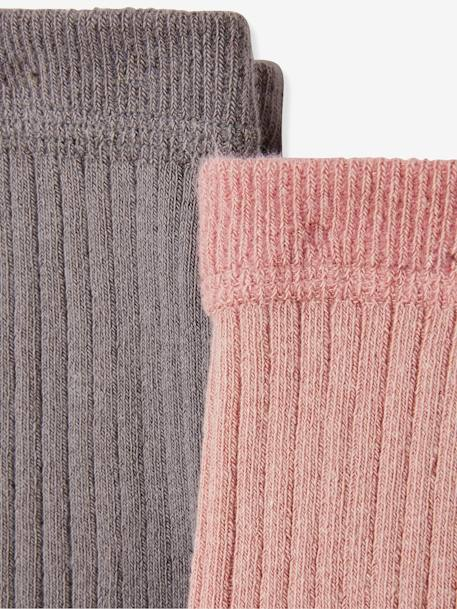 Pack of 2 Plain Rib Knit Tights, for Baby Girls GREY DARK TWO COLOR/MULTICOL+YELLOW DARK 2 COLOR/MULTICOL - vertbaudet enfant