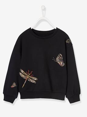Girls-Cardigans, Jumpers & Sweatshirts-Sweatshirt with Beads & Embroidery, for Girls