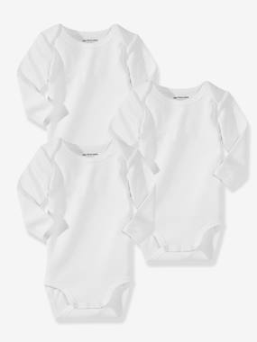 Baby clothing 0-18 months, newborn girl clothing, baby girl fashion clothes - Vertbaudet-Baby Pack of 3 Organic Collection Long-Sleeved White Bodysuits