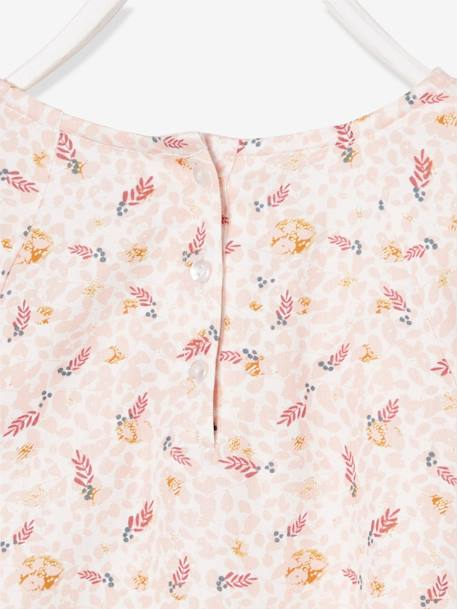 Printed Blouse with Ruffle, for Girls WHITE LIGHT ALL OVER PRINTED - vertbaudet enfant