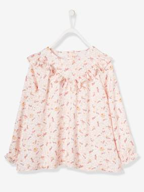 Girls-Blouses, Shirts & Tunics-Printed Blouse with Ruffle, for Girls