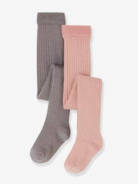 Baby-Socks & Tights-Pack of 2 Plain Rib Knit Tights, for Baby Girls