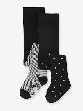 Baby-Socks & Tights-Pack of 2 Fancy Tights, for Baby Girls