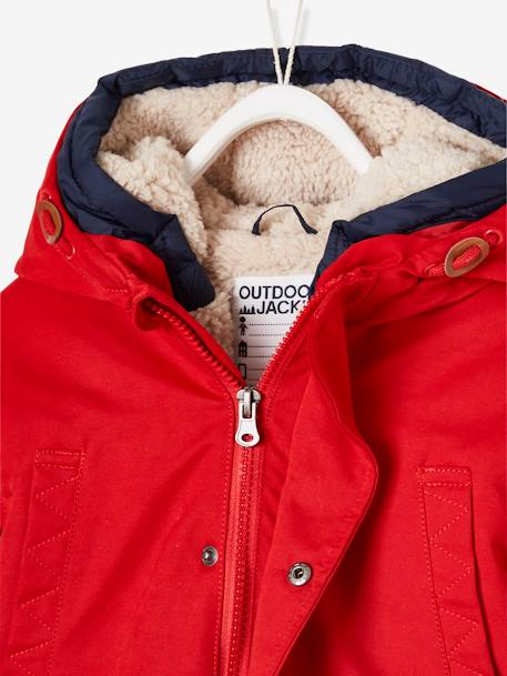 3-in-1 Parka, for Boys BLUE DARK SOLID WITH DESIGN+BROWN DARK SOLID WITH DESIGN+GREEN DARK SOLID WITH DESIGN+RED DARK SOLID WITH DESIGN - vertbaudet enfant