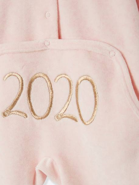 Marled Velour Sleepsuit for Babies, Press Studs on the Back BLUE DARK SOLID WITH DESIGN+PINK LIGHT MIXED COLOR+PINK MEDIUM MIXED COLOR - vertbaudet enfant