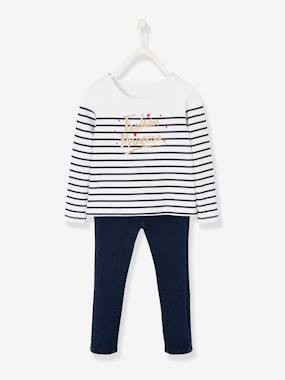 Girls-Cardigans, Jumpers & Sweatshirts-Top & Denim Treggings Combo, for Girls