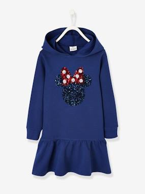 Vertbaudet Collection-Girls-Dresses-Fleece Dress, with Hood & Sequins, Minnie® by Disney