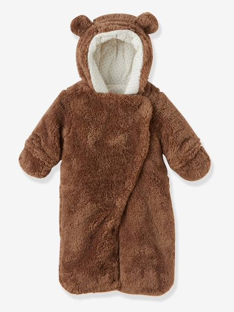 Newborn Faux Fur Convertible Snowsuit BEIGE DARK SOLID+PINK LIGHT SOLID+WHITE LIGHT SOLID - vertbaudet enfant