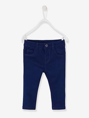 Baby-Trousers & Jeans-Slim Leg Trousers for Baby Girls in Stretch Twill