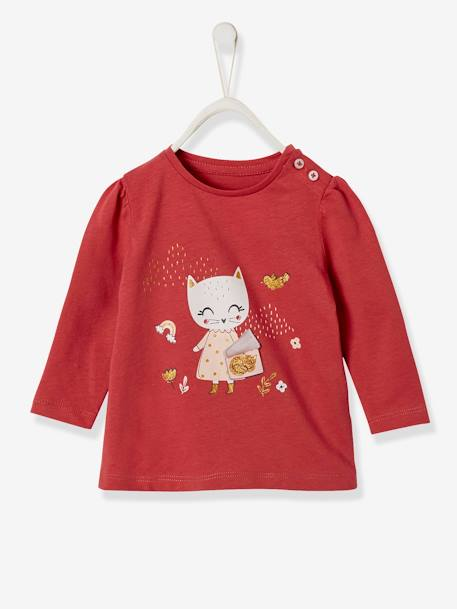 Top with Cute Appliqués, for Baby Girls PINK MEDIUM SOLID WITH DESIG+WHITE LIGHT SOLID WITH DESIGN - vertbaudet enfant