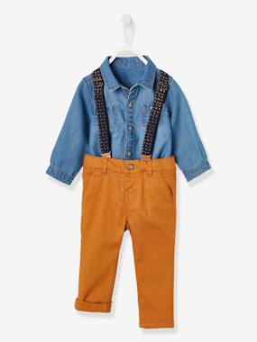 Baby-Outfits-Shirt + Trousers with Braces Outfit, for Baby Boys