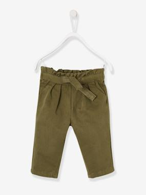 Baby-Trousers & Jeans-Twill Trousers for Baby Girls Bow on Waistband