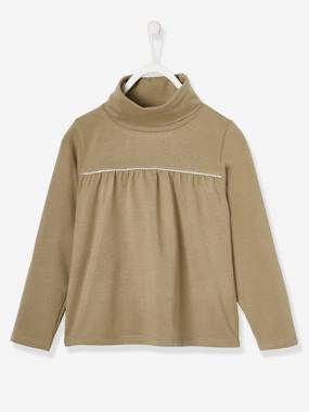 Girls-Tops-Roll Neck Tops-Turtleneck Top with Iridescent Trim for Girls