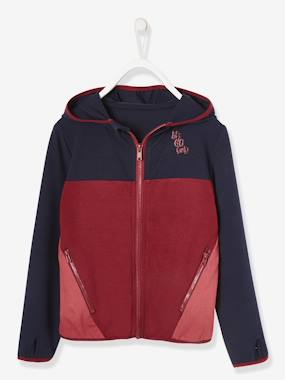 Vertbaudet Collection-Girls-Sportswear-Sports Jacket with Hood, Colour Block Effect, for Girls