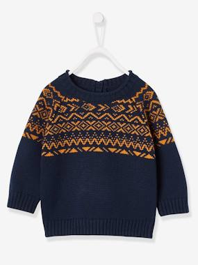 Baby-Jumpers, Cardigans & Sweaters-Jacquard Knit Jumper, For Baby Boys