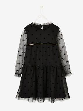 Vertbaudet Collection-Girls-Plumetis Dress, for Girls