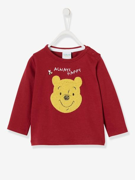Long-Sleeved Winnie the Pooh®Top, Bouclé Knit Motif, by Disney RED DARK SOLID WITH DESIGN - vertbaudet enfant