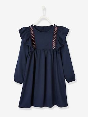 Vertbaudet Collection-Girls-Dress with Ruffles, for Girls
