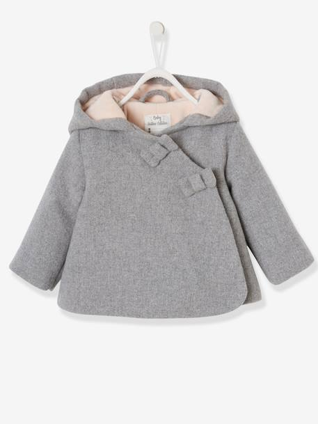 Fabric Coat with Hood, Lined & Padded, for Baby Girls GREY LIGHT MIXED COLOR+PINK MEDIUM MIXED COLOR - vertbaudet enfant