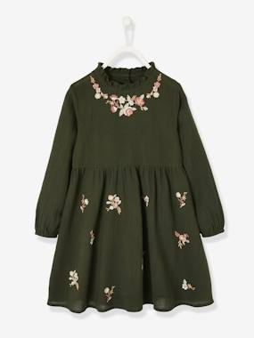 Vertbaudet Collection-Girls-Embroidered Dress, for Girls