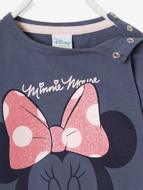 Long-Sleeved Minnie® Top with Sequins, for Girls BLUE DARK SOLID WITH DESIGN - vertbaudet enfant