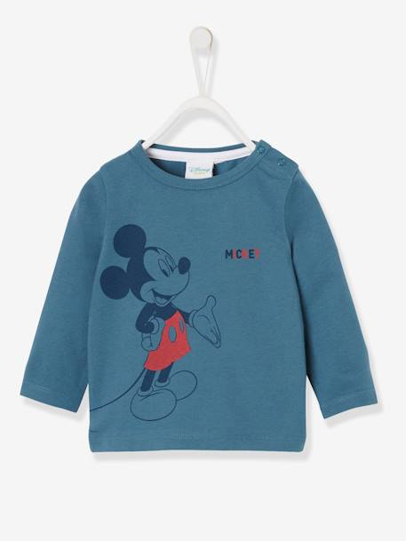Long-Sleeved Mickey® Top, for Boys, by Disney BLUE DARK SOLID WITH DESIGN - vertbaudet enfant