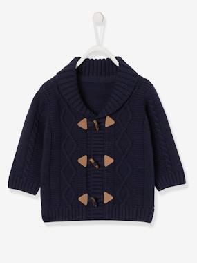 Baby-Jumpers, Cardigans & Sweaters-Cable Knit Cardigan with Shawl Collar, for Baby Boys