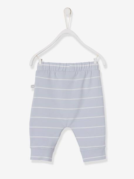 Soft Jersey Knit Trousers for Newborn Babies BLUE DARK SOLID+BLUE MEDIUM STRIPED+GREY DARK MIXED COLOR+ORANGE LIGHT ALL OVER PRINTED+PINK MEDIUM STRIPED+WHITE LIGHT SOLID - vertbaudet enfant