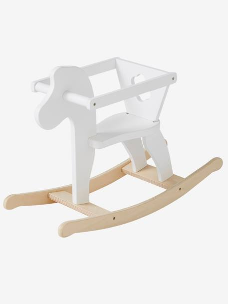 Wooden Rocking Horse for Doll WHITE BRIGHT 2 COLOR/MULTICOL - vertbaudet enfant