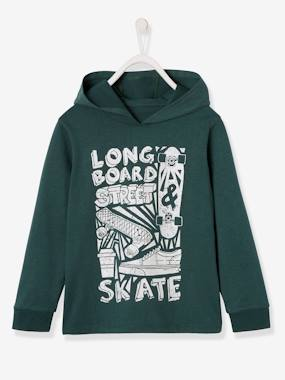 Boys-Tops-T-Shirts-Hoodie with Skateboarding Motif for Boys
