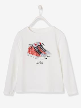 Vertbaudet Collection-Girls-Top with Iridescent Trainers Print, for Girls