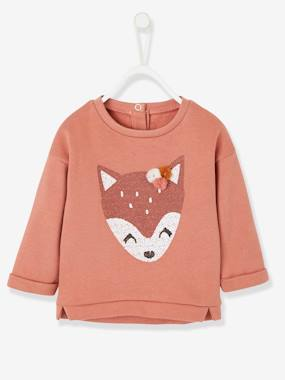 Vertbaudet - Sweater and cardigan for girls boys and babys-Fox Fleece Sweatshirt, for Baby Girls
