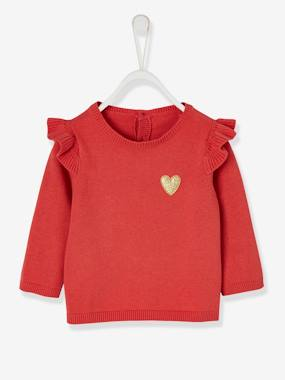 Baby-Jumpers, Cardigans & Sweaters-Jumper with Frill for Baby Girls