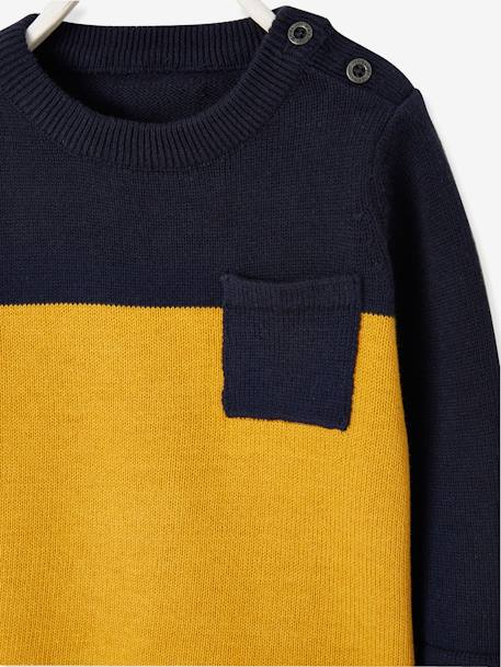 Two-Tone Jumper for Baby Boys BLUE DARK SOLID+GREY LIGHT MIXED COLOR - vertbaudet enfant