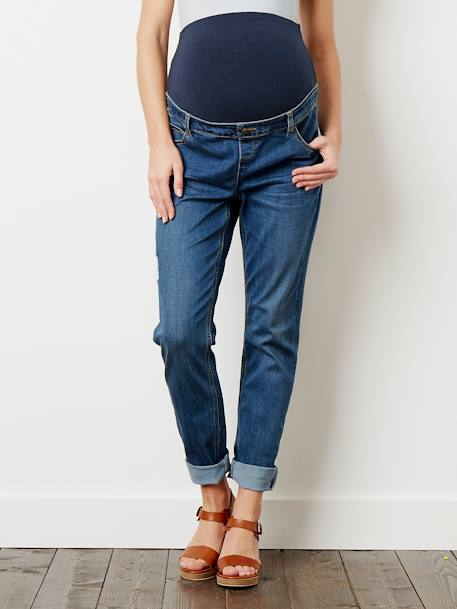 Maternity Boyfriend Fit Jeans - Inside Leg 29' BLACK DARK SOLID+BLUE LIGHT WASCHED+Ecru+Stone - vertbaudet enfant