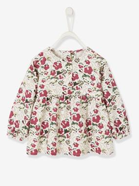 Baby-Blouses & Shirts-Printed Velour Top for Baby Girls