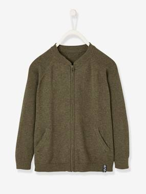 Boys-Cardigans, Jumpers & Sweatshirts-Cardigans-College-type Jacket with Zip, for Boys
