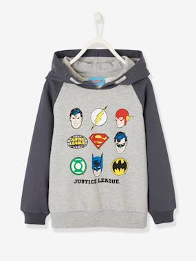 Boys-Cardigans, Jumpers & Sweatshirts-Two-tone Sweatshirt with Hood, for Boys, Justice League®