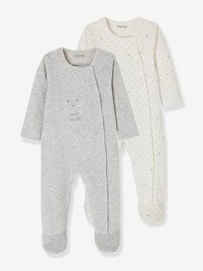 pyjama-Baby-Pack of 2 Baby Sleepsuits with Front Opening in Velour