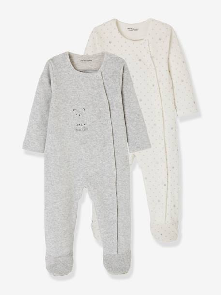 Pack of 2 Baby Sleepsuits with Front Opening in Velour WHITE LIGHT TWO COLOR/MULTICOL - vertbaudet enfant