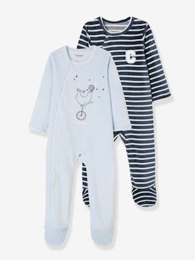 Vertbaudet Collection-Baby-Pyjamas-Pack of 2 Baby Sleepsuits in Velour