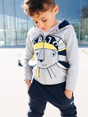 Boys-Cardigans, Jumpers & Sweatshirts-Zipped Jacket with Hood for Boys, Lion Motif